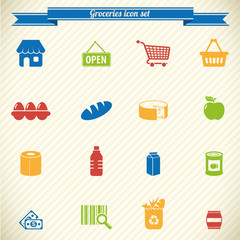 Collection of groceries icons