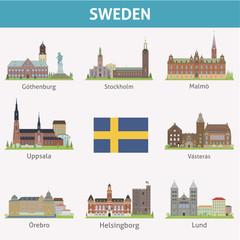 Sweden. Symbols of cities