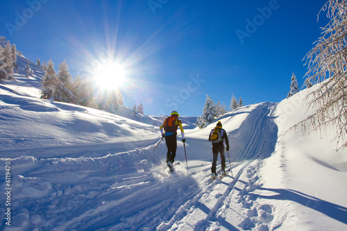 Plexiglas Wintersporten cross-country skiing