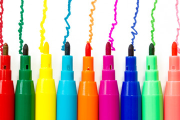 Various color felt-tip pens