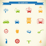 Collection of car wash service icons in color