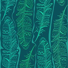 Seamless pattern of bird feathers
