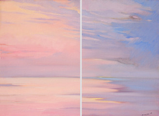 pink dawn on the sea, painting by oil on canvas,  illustration
