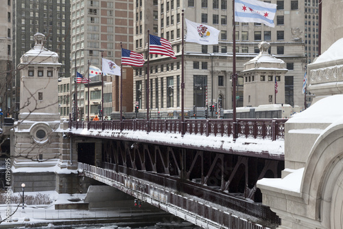 Chicago Michigan Avenue Bridge or DuSable Bridge in winter