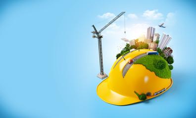 City on the construction helmet.