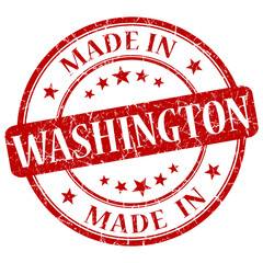 made in Washington red round grunge isolated stamp