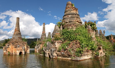 Ancient flooded pagodas, Samkar village, Inle Lake, Myanmar