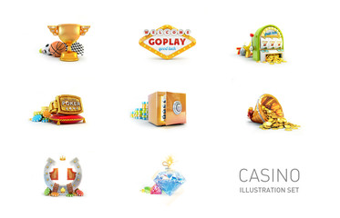 Casino illustration set