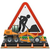 Vector Road Construction Concept with Sign