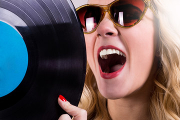 Isolated retro girl holding vinyl LP