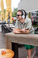 Young man listening to the music