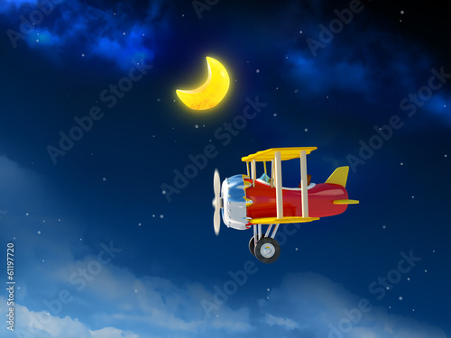 cartoon airplane in night sky
