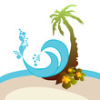 Graphic Design - palm, flowers and wave with splashes