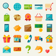 Internet shopping icon set in flat design style.