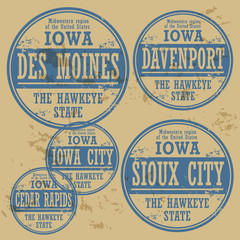 Grunge rubber stamp set with names of Iowa cities