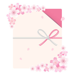 桜 背景 Envelope with cherry blossom flowers