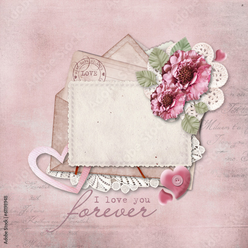 Vintage background with love card
