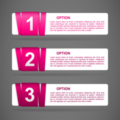 vector pink paper option labels