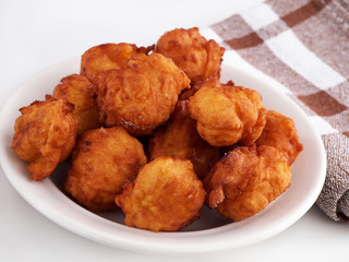 Homemade fritters on plate