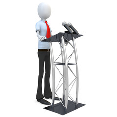 3d man businessman speaking from a tribune