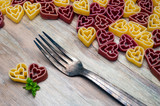 love heart pasta and fork