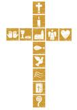 Fototapety christliches Kreuz mit diversen Symbolen