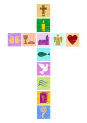 buntes christliches Kreuz mit diversen Symbolen