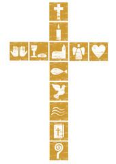 christliches Kreuz mit diversen Symbolen