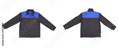 Blue-black jacket back and front view.