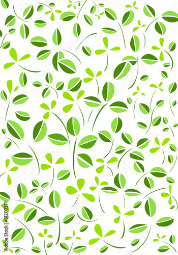 Green leaves and flower vector background