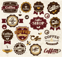 Collection of vintage retro coffee stickers and labels