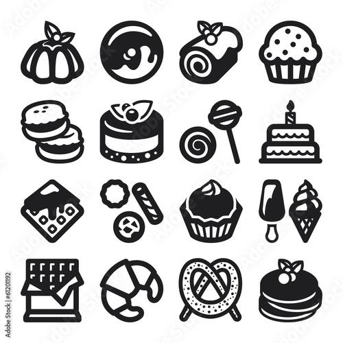 Desserts flat icons. Black