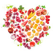 Red Heart of fruits and vegetables isolated on white
