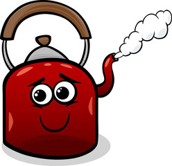 kettle and steam cartoon illustration