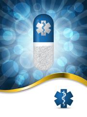 Medical background design with gold wave