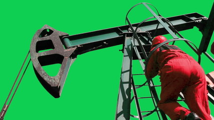 Oil Worker and Pump Jack Green Screen