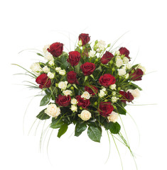 bouquet of red and rose flowers isolated on white background
