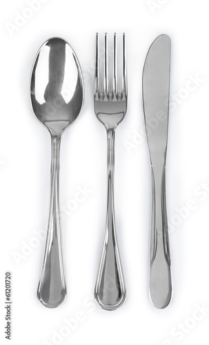 Cutlery set with Fork, Knife and Spoon on white background