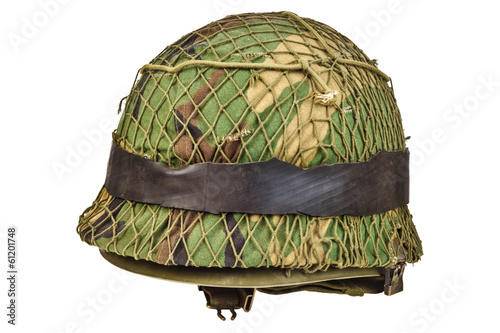 Retro war helmet isolated on white