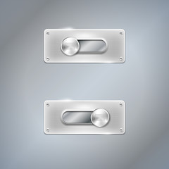 Shiny web slider in two positions on metal background