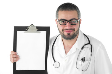 Male doctor holding a clipboard isolated