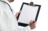 Close-up of a doctor with clipboard isolated on white background