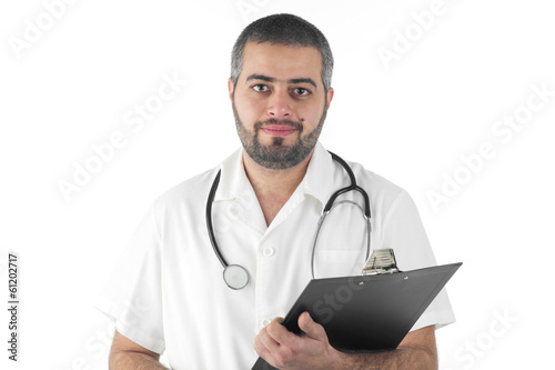Male doctor holding a folder isolated on white