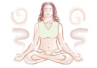 Woman doing yoga in lotus pose - Meditation