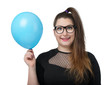 Funny happy girl in glasses with blue balloon on a white