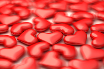a lot of 3d hearts in defocus