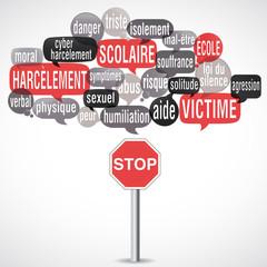nuage de mots : harcèlement scolaire (cs5) panneau Stop