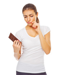 Young healthy woman with chocolate