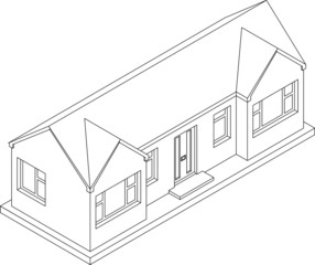 3d isometric line drawing of a single story house or bungalow
