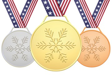 Medals with stars and stripes ribbon
